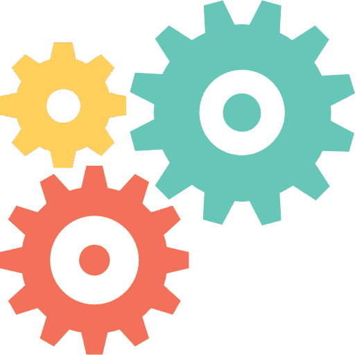 Icon of 3 colorful gears depicting tools