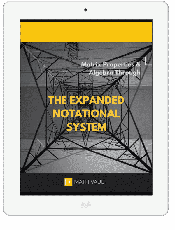 Ebook cover tablet mockup of Math Vault's Expanded Matrix Notational System
