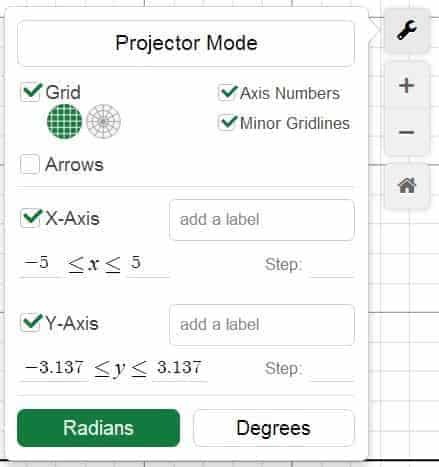 Graph Setting in Desmos