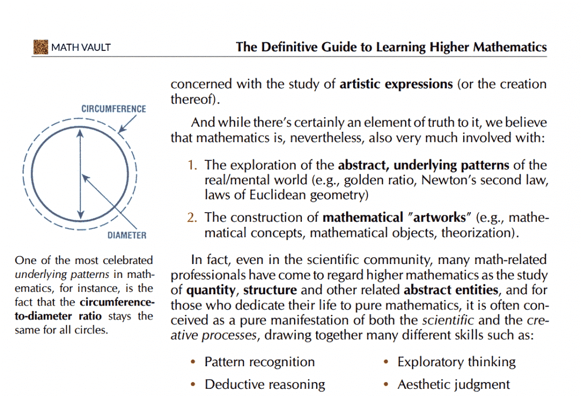 """Screenshot of the """"Aesthetic of mathematics"""" section of Math Vault's The Definitive Guide to Learning Higher Mathematics"""
