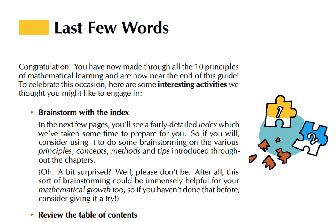 Screenshot of the Last Few Words section of Math Vault's The Definitive Guide to Learning Higher Mathematics