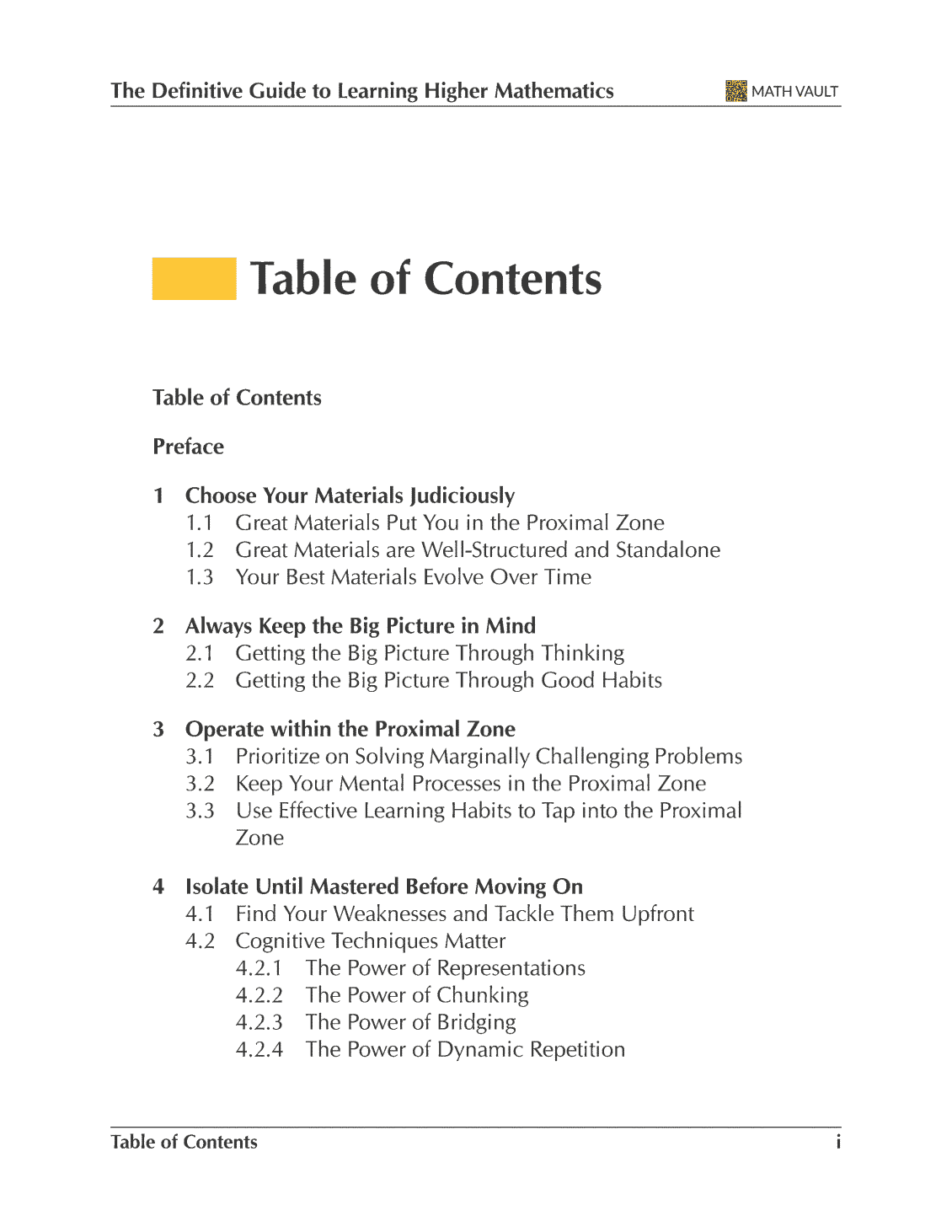 Table of contents (page 1) from Math Vault's The Definitive Guide to Learning Higher Mathematics