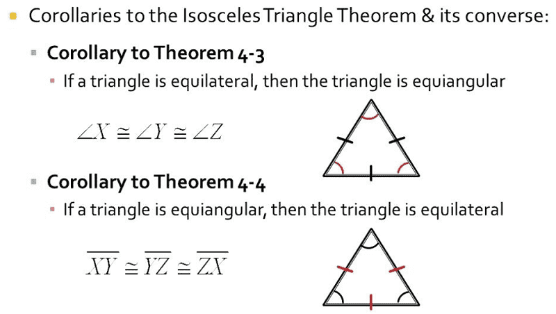 Corollaries related to the Isosceles Triangle Theorem