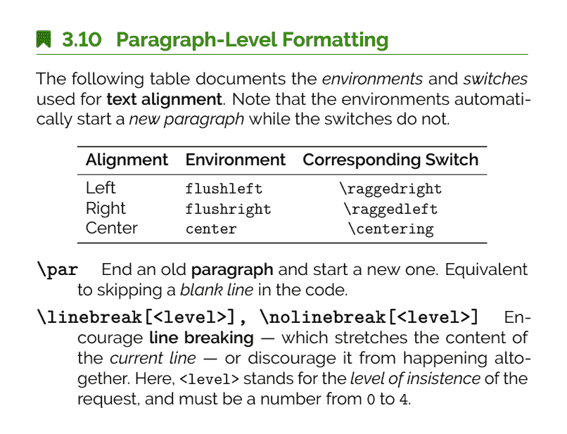 The Ultimate LaTeX Reference Guide — Paragraph-Level Formatting