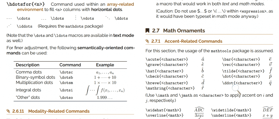 A screenshot of Math Vault's The Ultimate LaTeX Reference Guide