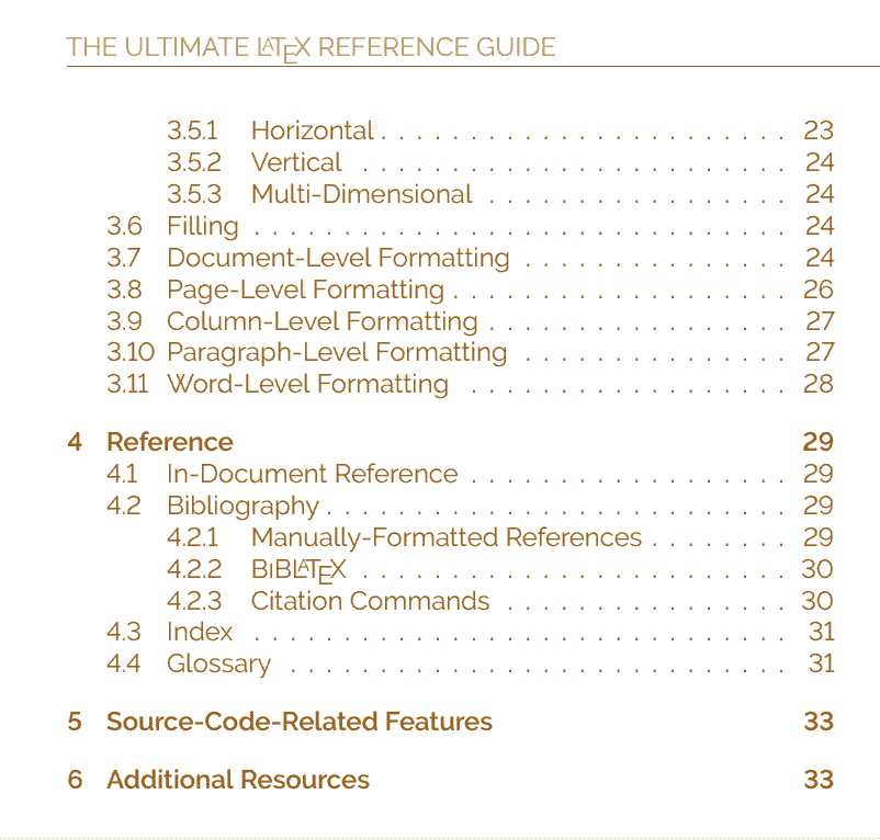 The Ultimate LaTeX Reference Guide — Table of Contents Page 2