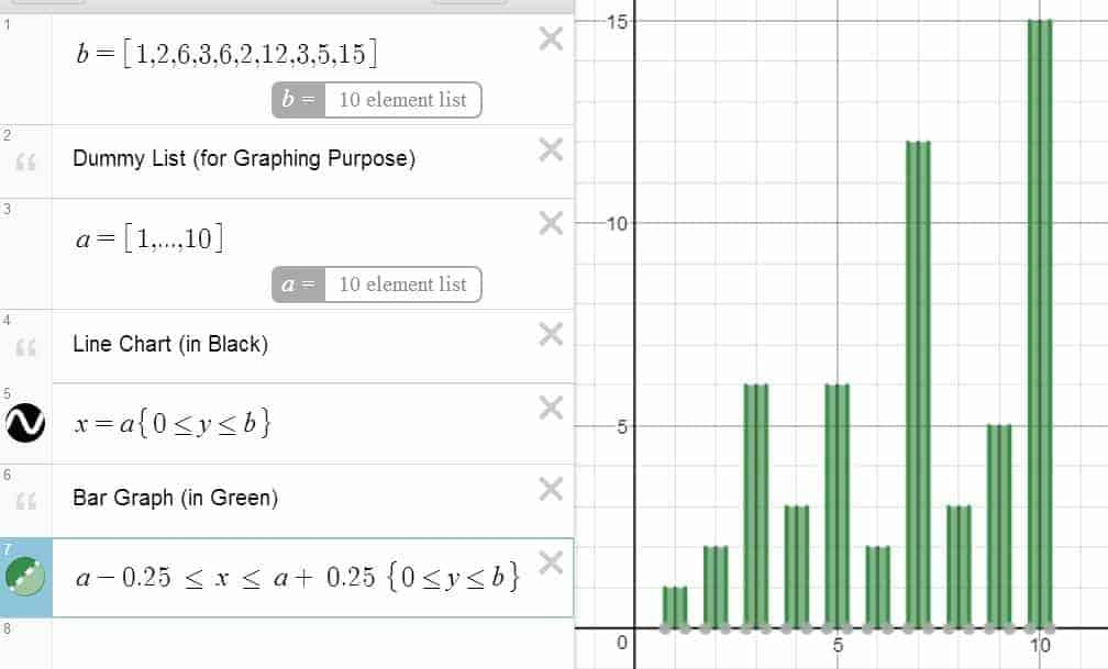 Visual Statistics in Desmos: Line Chart and Bar Graph