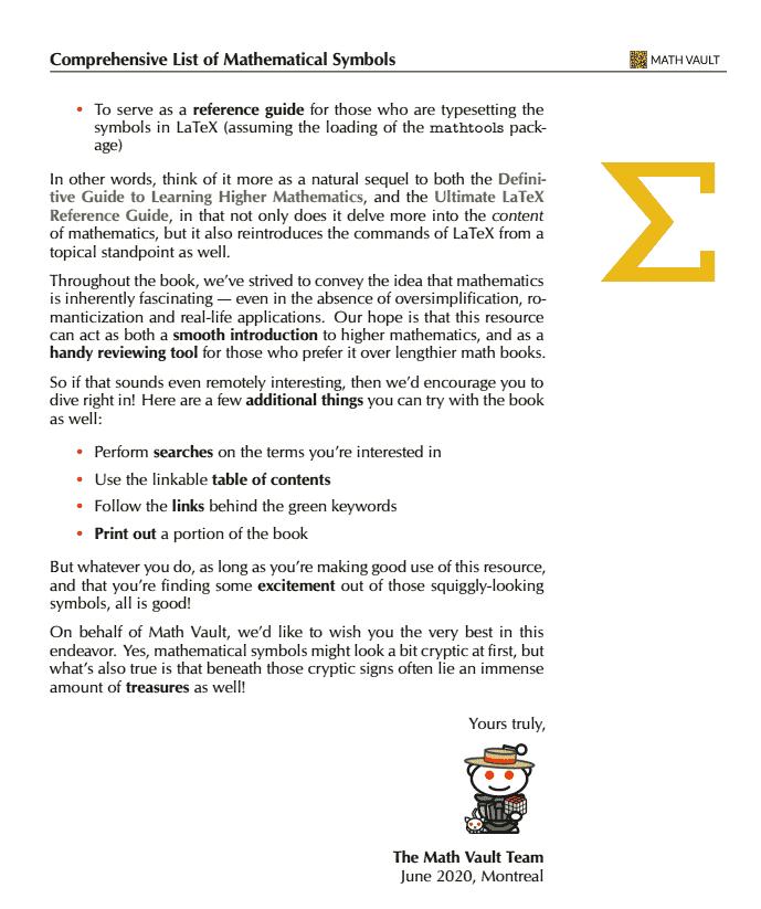 Comprehensive List of Mathematical Symbols Ebook: Preface Page 2