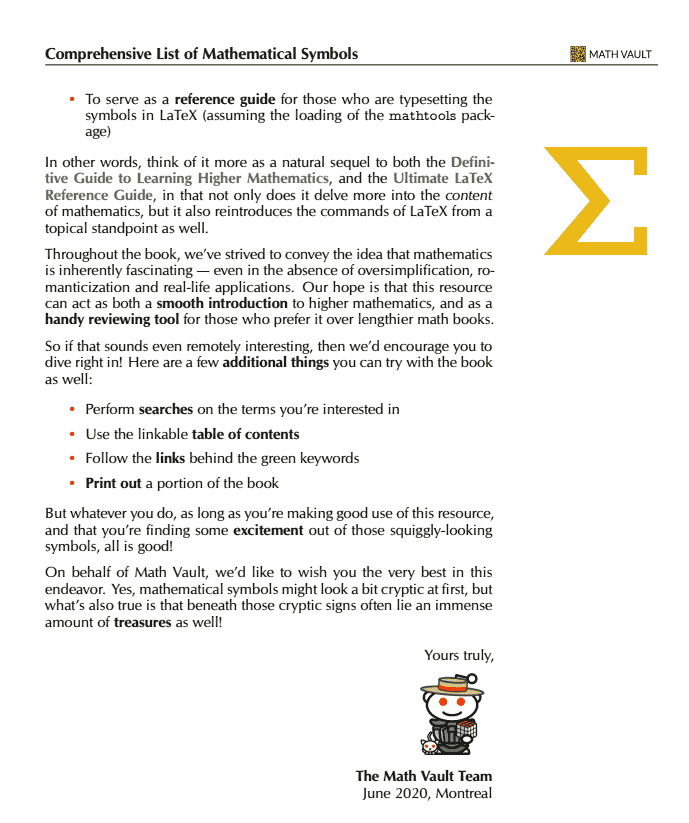 Comprehensive List of Mathematical Symbols Ebook: Preface Page 2