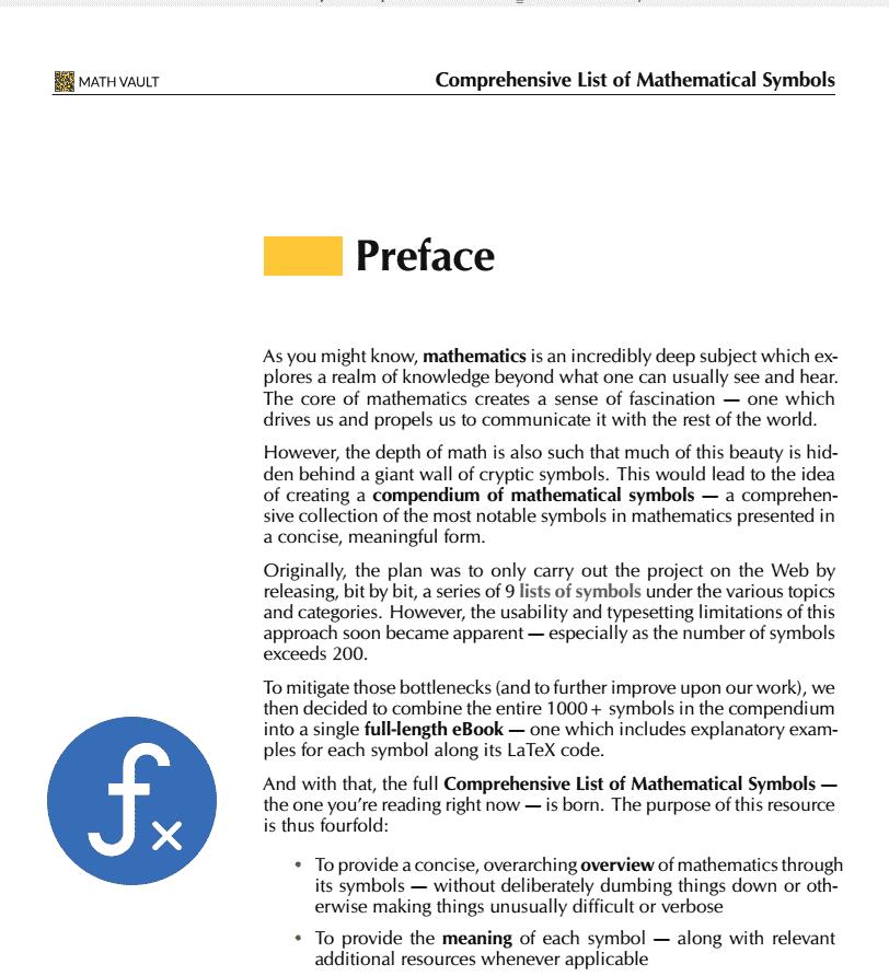 Comprehensive List of Mathematical Symbols Ebook: Preface
