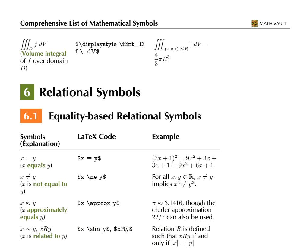 Comprehensive List of Mathematical Symbols Ebook: Relational Symbols