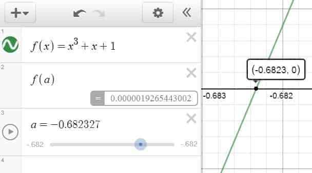 Root Finding in Desmos — The Cubic Function x^3+x+1