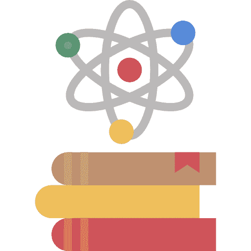 Icon of an atom, with 3 books underneath