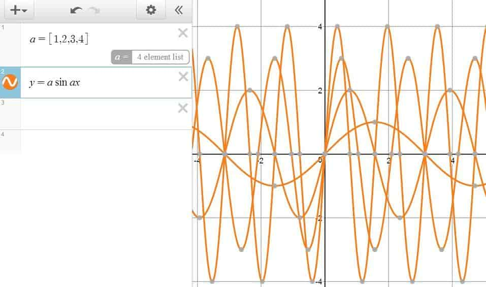 A Series of Sines Waves — Simultaneous Graphing in Desmos