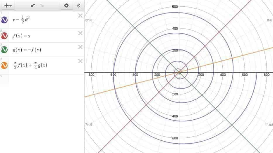 Polar Curves (Spiral) and Lines in Desmos