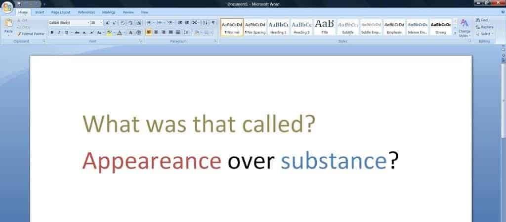 Microsoft Word - Appearance Over Substance?