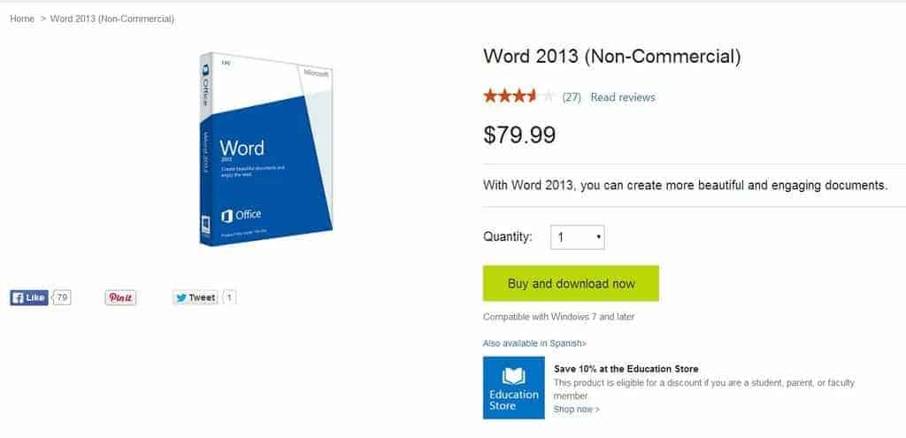 The Price of Microsoft Word 2013 - Microsoft Store