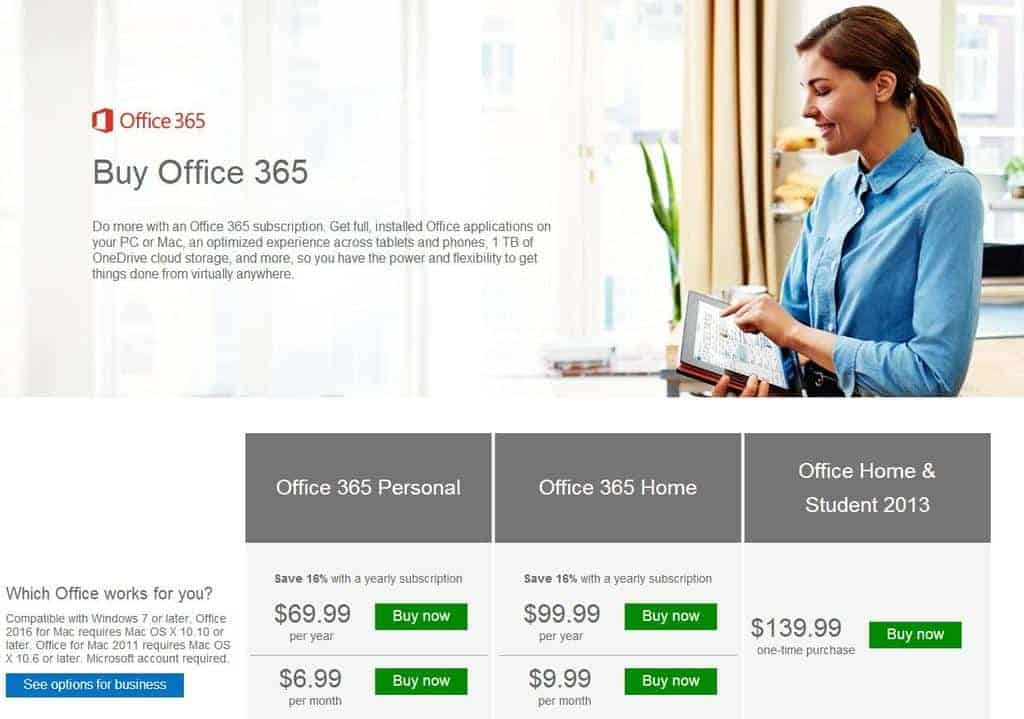The different subscription plans and prices for Office 365