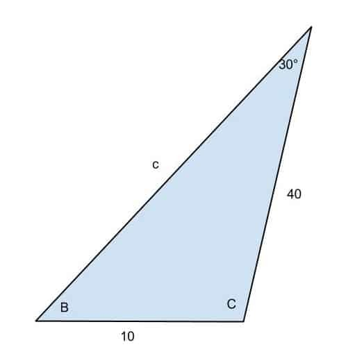 Solving the triangle with A=30°, b=40, and a=10